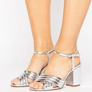 Strappy Silver Chunky Heeled Sandals Wide Fit